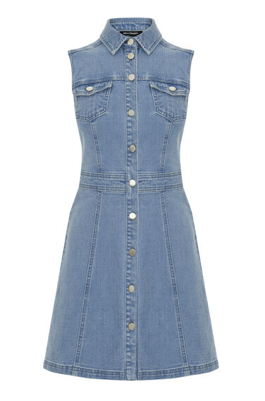 Warehouse, Sleeveless Fit and Flare Dress Mid Wash Denim 0