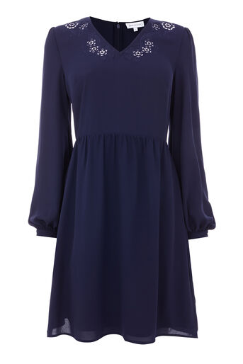 Warehouse, CUTWORK EMBROIDERED DRESS Navy 0
