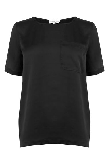 Warehouse, Satin Front Tee Black 0