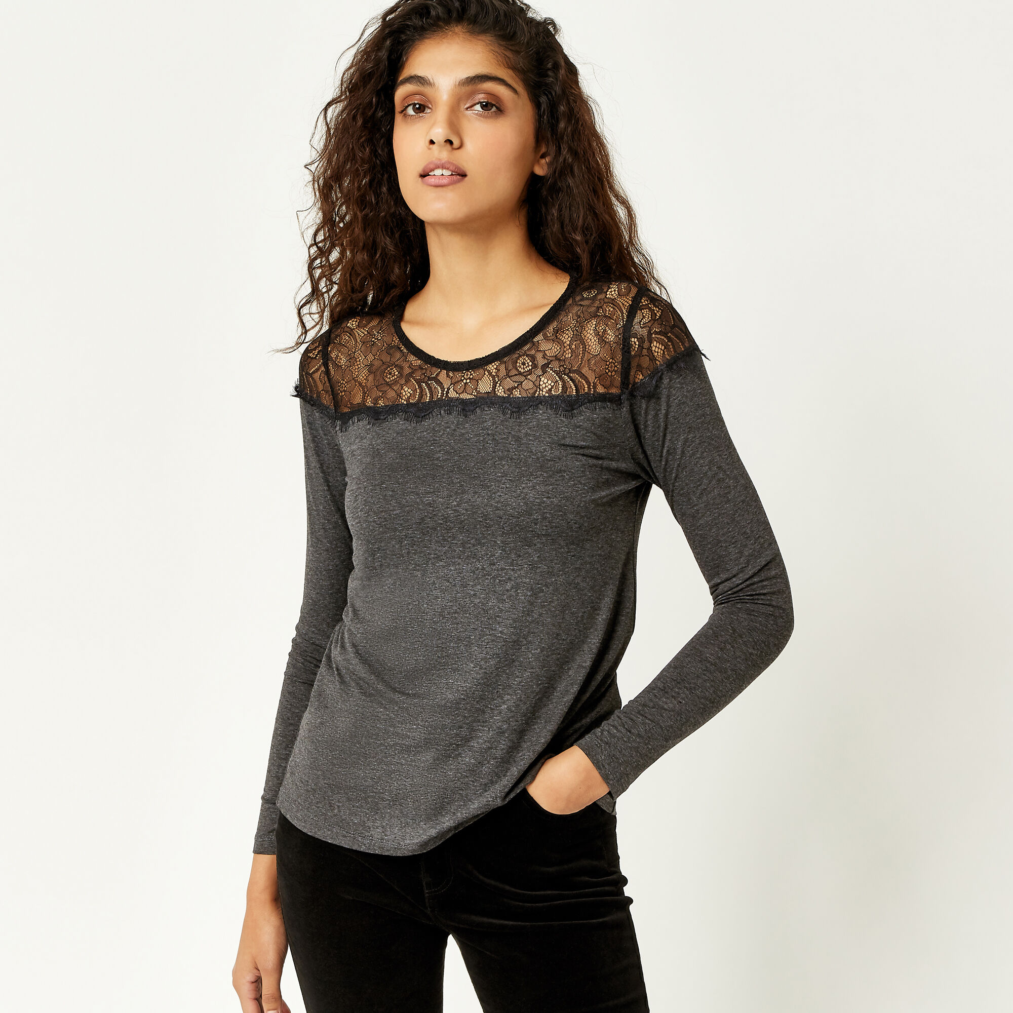 Warehouse, LACE PANEL JERSEY TOP Dark Grey 1