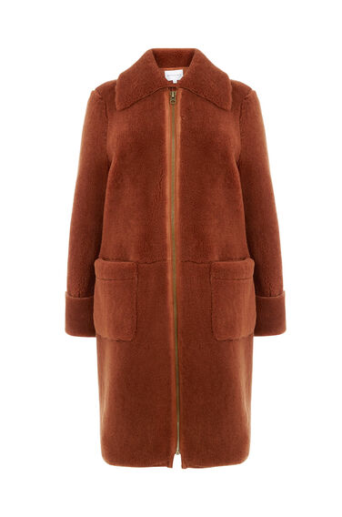 Warehouse, Shearling Car Coat Tan 0