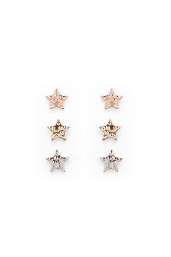 Warehouse, HAMMERED STAR EARRING PACK Multi 0