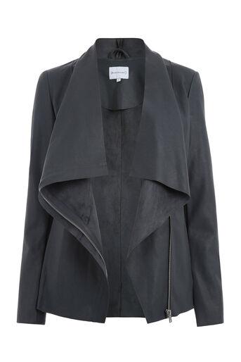 Warehouse, Drape Neck Faux Leather Jacket Dark Grey 0