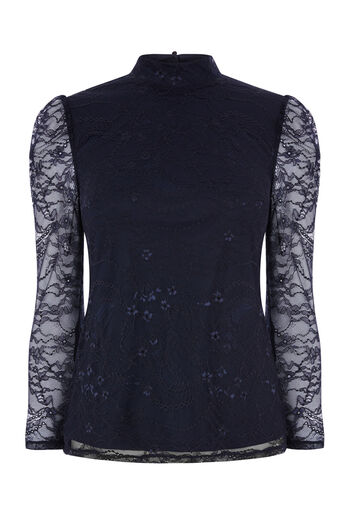 Warehouse, CHANTILLY LACE HIGH NECK TOP Navy 0