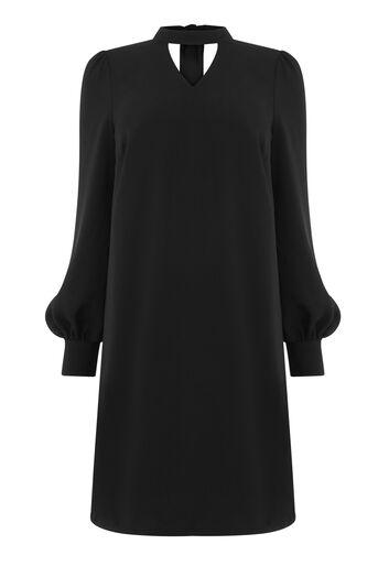Warehouse, CHOKER LONG SLEEVE SHIFT DRESS Black 0