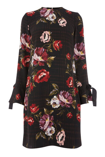 Warehouse, COUNTRY ROSE TIE CUFF DRESS Black Pattern 0