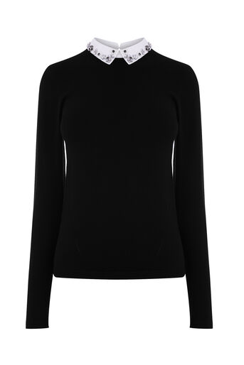 Warehouse, EMBELLISHED COLLAR JUMPER Black 0