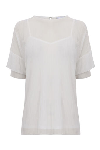 Warehouse, PLISSE FRILL SLEEVE TOP Cream 0