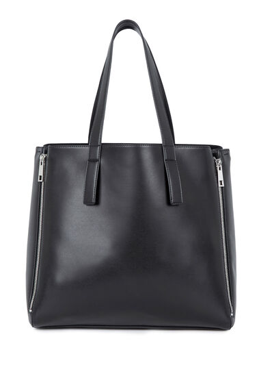 Warehouse, Clean Four Zip Shopper Bag Black 0