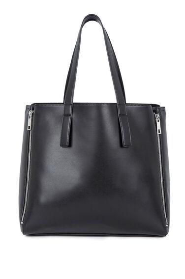 Warehouse, Clean Four Zip Shopper Bag Black 0