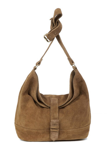 Warehouse, Suede Buckle Slouchy Bag Tan 0