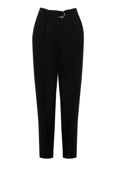 Warehouse, SOFT BELTED PEG TROUSERS Black 0