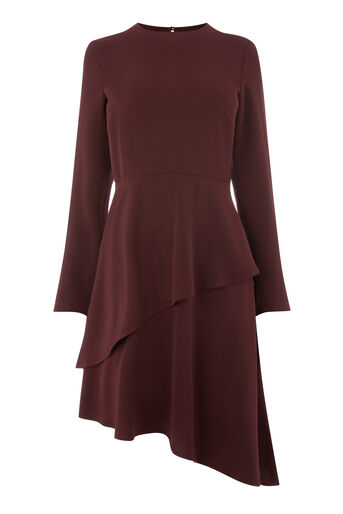 Warehouse, LAYERED FLIPPY DRESS Berry 0