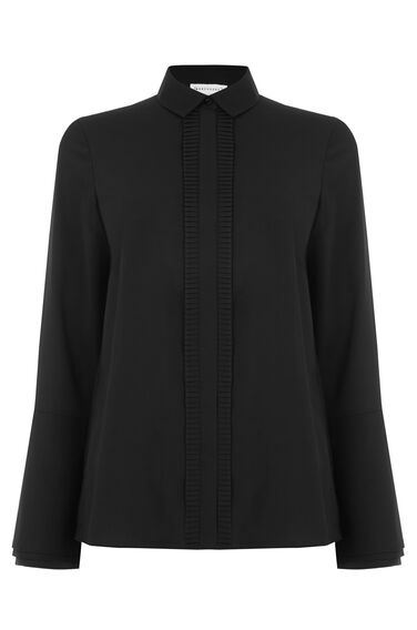 Warehouse, PLEAT PLACKET SHIRT Black 0