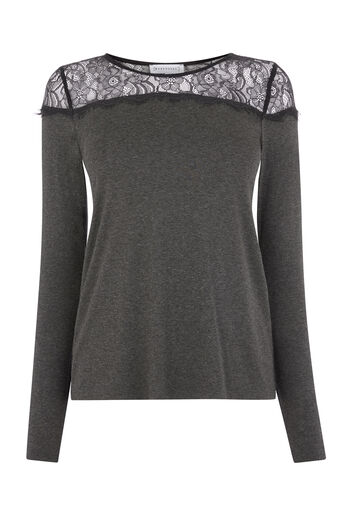 Warehouse, LACE PANEL JERSEY TOP Dark Grey 0