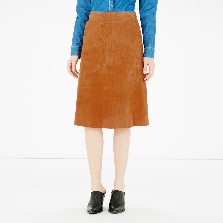 Warehouse, Suede Midi Skirt Tan 1