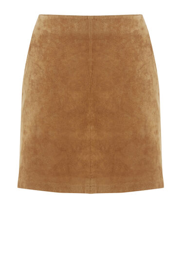 Warehouse, Suede Pelmet Skirt Brown 0