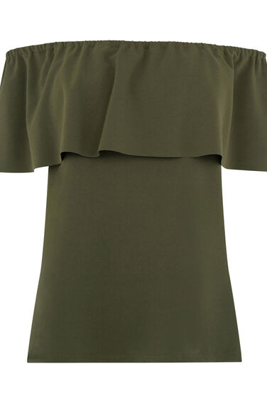 Warehouse, CREPE OFF SHOULDER TOP Khaki 0