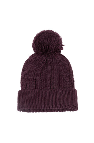Warehouse, Cable Knit Hat Berry 0