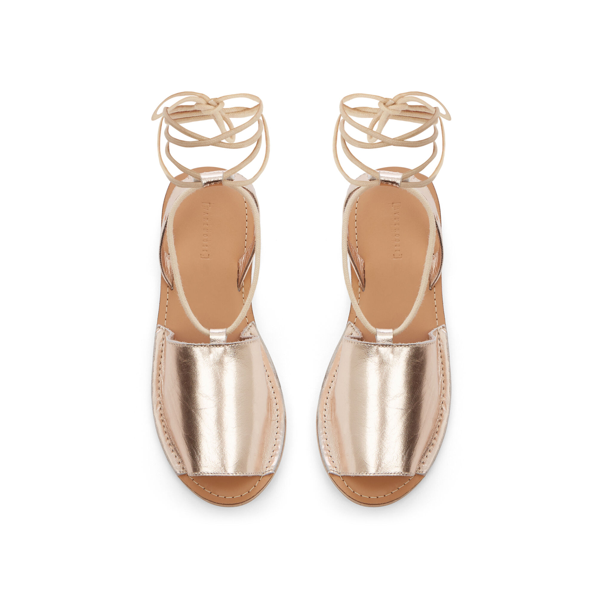 Warehouse, LACE UP 2 PART SANDAL Gold Colour 1