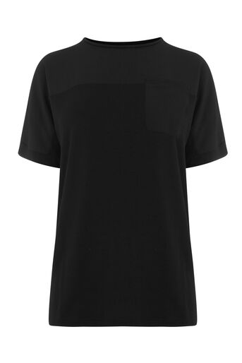 Warehouse, SMART WOVEN MIX GROWN ON TEE Black 0