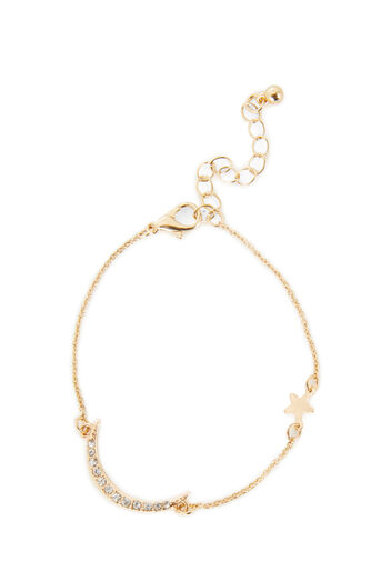 Warehouse, MOON AND STAR BRACELET Gold Colour 0