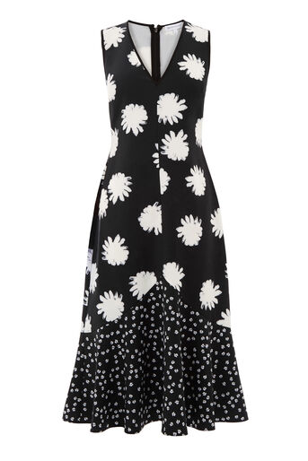 Warehouse, DAISY FLORAL MIDI DRESS Black Pattern 0