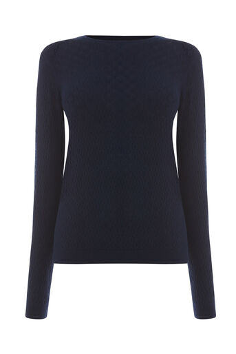 Warehouse, POINTELLE PUFF SLEEVE JUMPER Navy 0