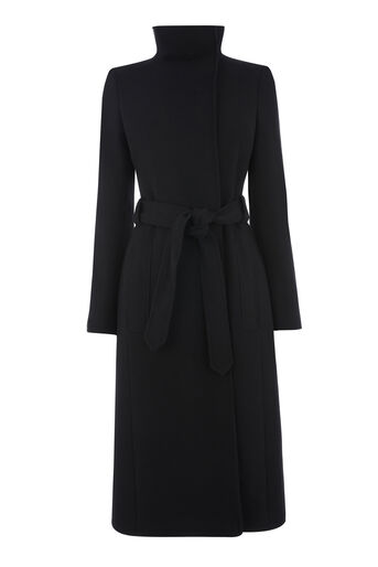 Warehouse, Longline Funnel Coat Black 0