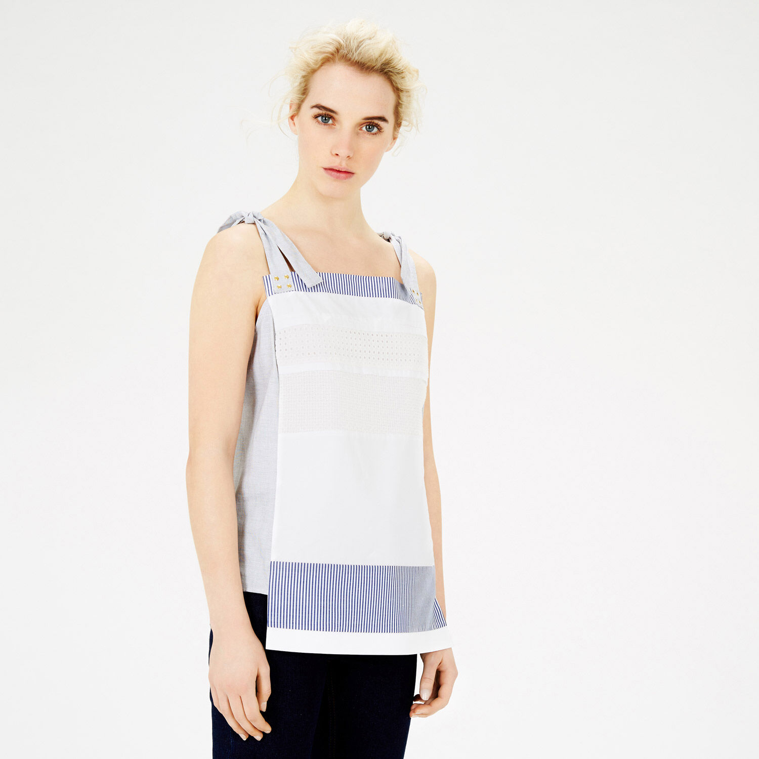 Warehouse, PINAFORE PANELLED TOP White 1