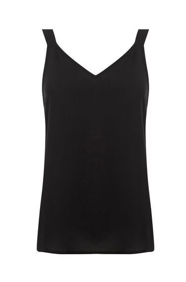 Warehouse, STRAPPY WOVEN FRONT CAMI Black 0