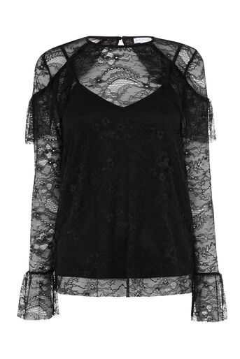 Warehouse, CHANTILLY LACE TOP Black 0