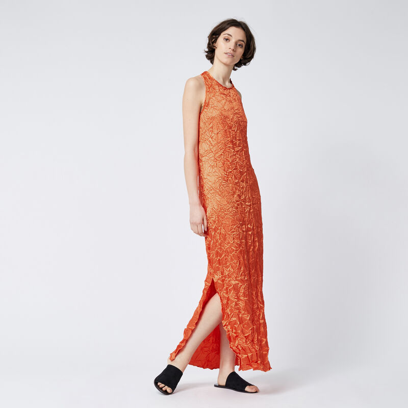 Warehouse, Crinkle Twist Back Maxi Dress Orange 1