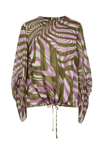 Warehouse, WARP PRINT RUCHED SLEEVE TOP Purple Pattern 0