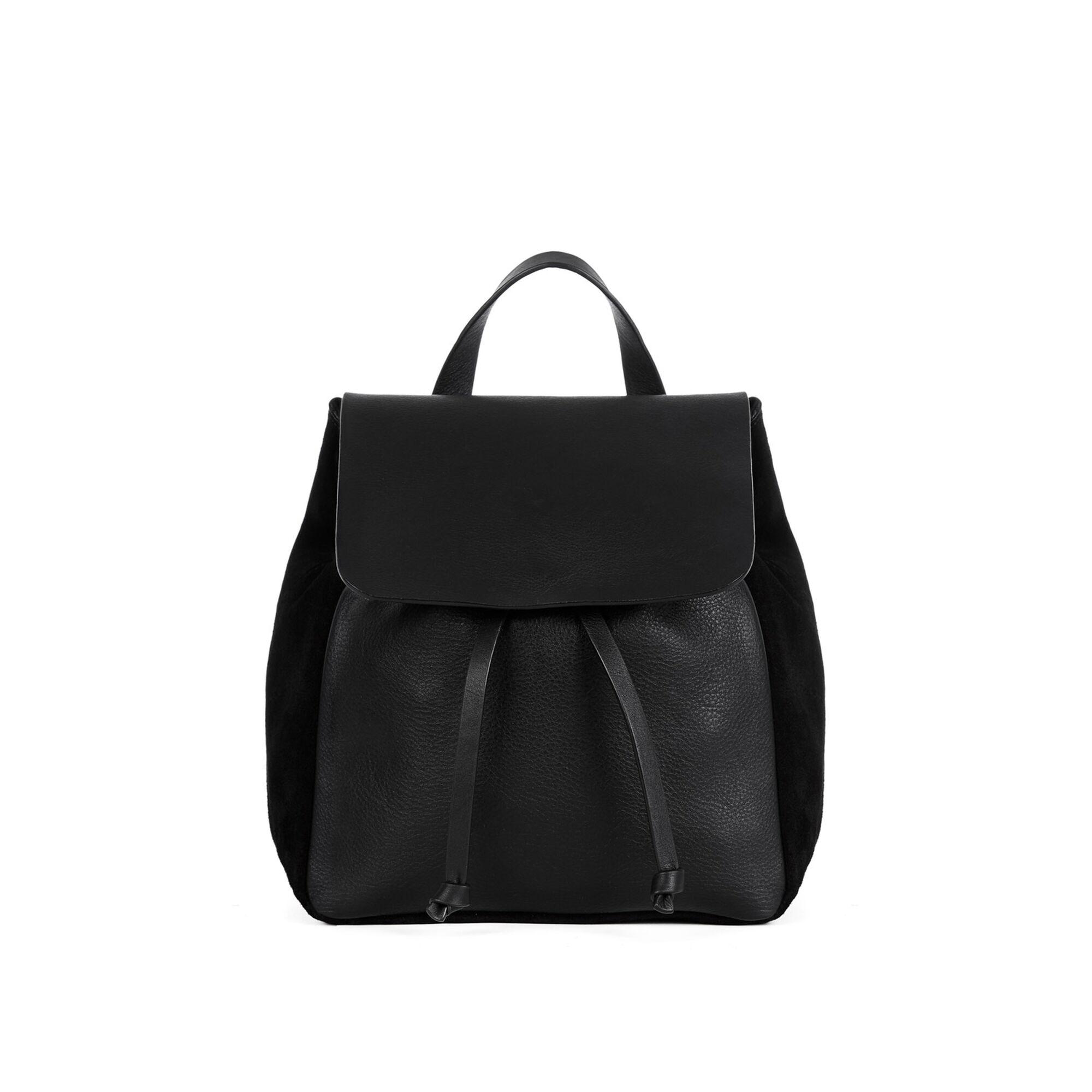 Warehouse, Leather Suede Mini Rucksack Black 1