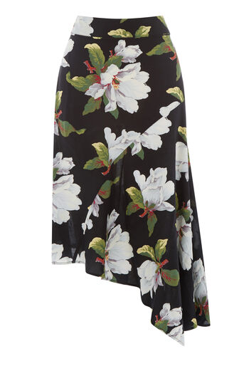 Warehouse, MAGNOLIA ASYMMETRIC SKIRT Black Pattern 0
