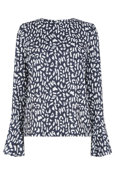 Warehouse, ANIMAL PRINT FLUTE SLEEVE TOP Multi 0