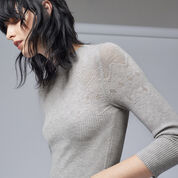 Warehouse, POINTELLE KNITTED TOP Light Grey 4