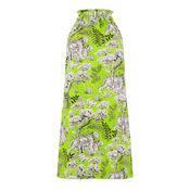 Warehouse, TIGER PRINT HALTER DRESS Green Print 0