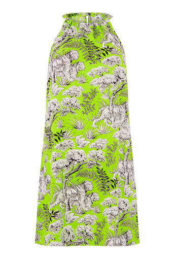 Warehouse, TIGER PRINT HALTER DRESS Green Print 0