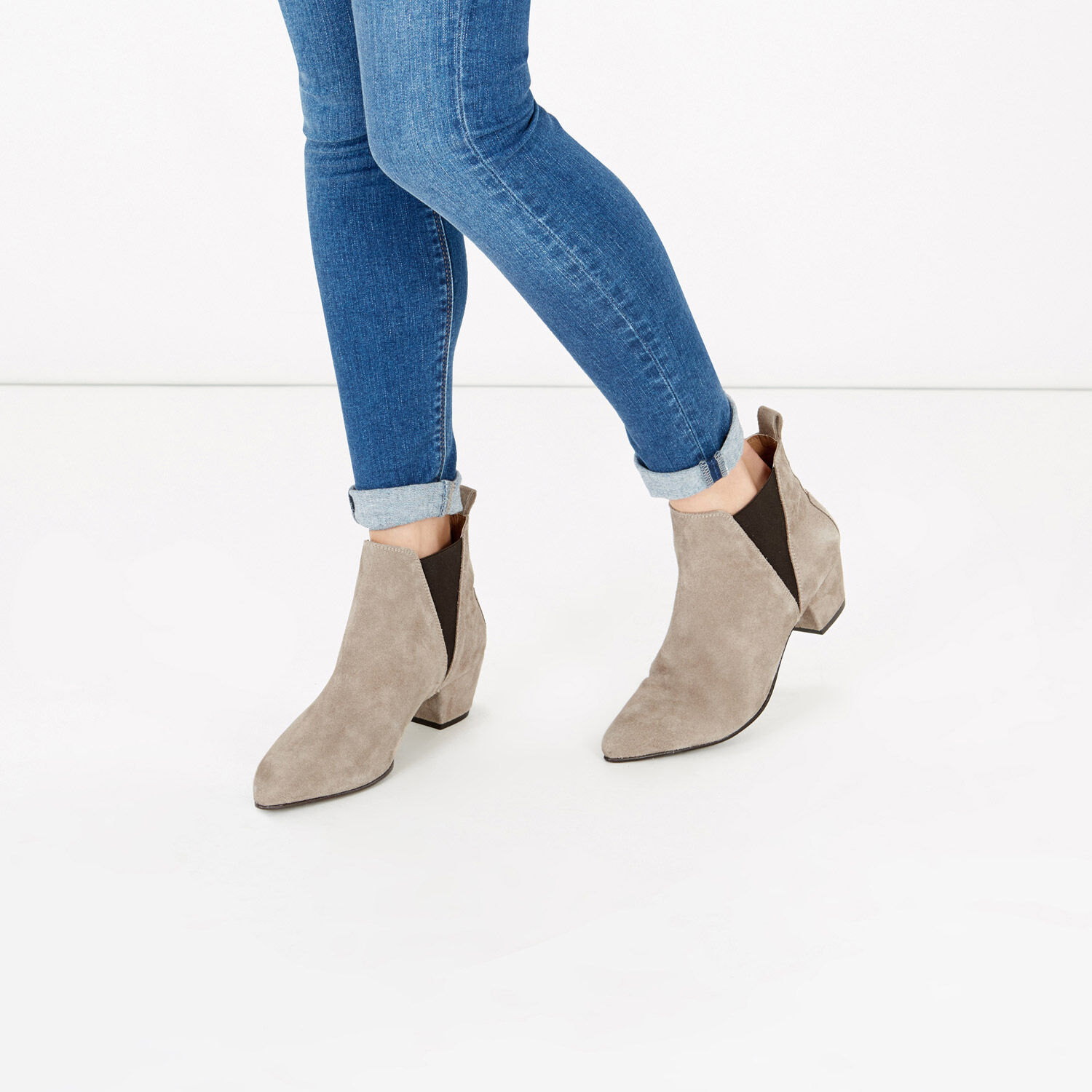 Warehouse, Suede Ankle Boot Choc 1