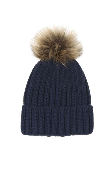Warehouse, Faux Fur Ribbed Hat Navy 0