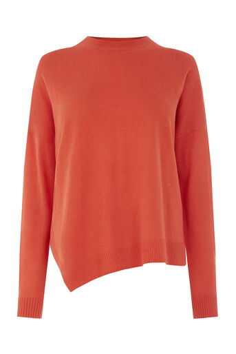 Warehouse, DISPLACED BOXY HEM JUMPER Bright Red 0