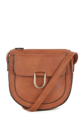 Warehouse, SMALL D RING SADDLE CROSSBODY Tan 0