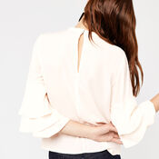 Warehouse, TIERED SLEEVE TOP Cream 4