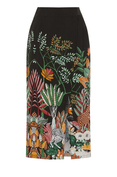 Warehouse, Jungle Print Midi Skirt Black Pattern 0