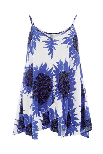 Warehouse, SUNFLOWER CAMI TOP Blue Pattern 0