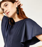 Warehouse, SATIN AND CREPE MIX JUMPSUIT Navy 4