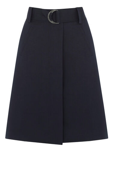 Warehouse, COMPACT COTTON A-LINE SKIRT Navy 0