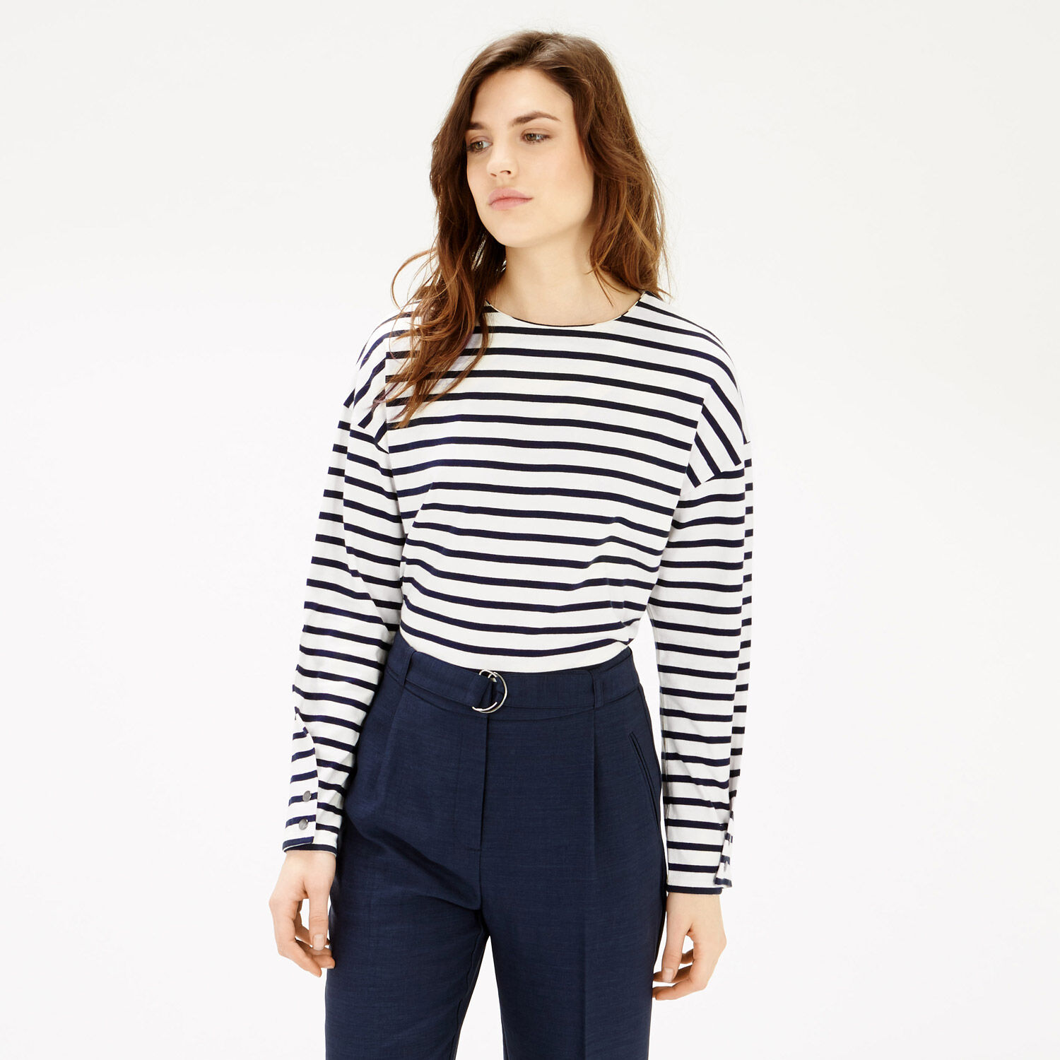 Warehouse, WRAP SLEEVE TOP Black Stripe 1